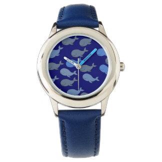 hora de las ballenas azules reloj de mano