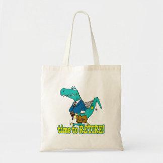 hora de retirar el dinosaurio de trabajo viejo bolsa