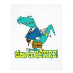 hora de retirar el dinosaurio de trabajo viejo tarjetas informativas