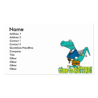 hora de retirar el dinosaurio de trabajo viejo plantillas de tarjetas de visita