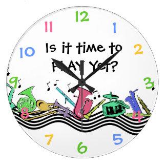 Hora de tocar los instrumentos musicales relojes de pared