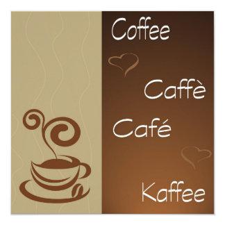 """hora del café invitación 5.25"""" x 5.25"""""""