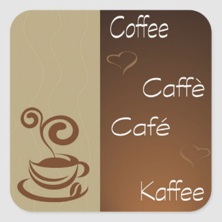 hora del café pegatina cuadrada