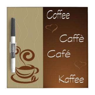 hora del café pizarras blancas