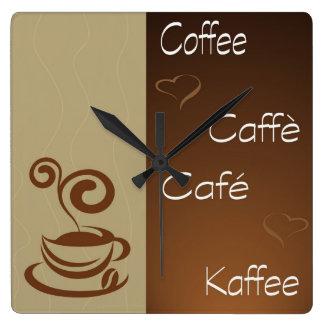 hora del café reloj cuadrado
