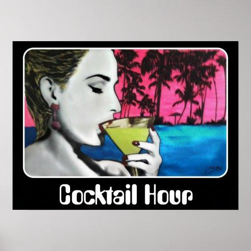 """""""Hora del cóctel"""" en un poster"""