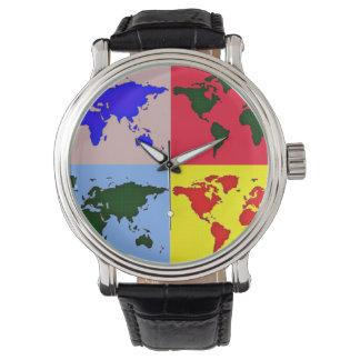 hora del mundo del gráfico de color reloj