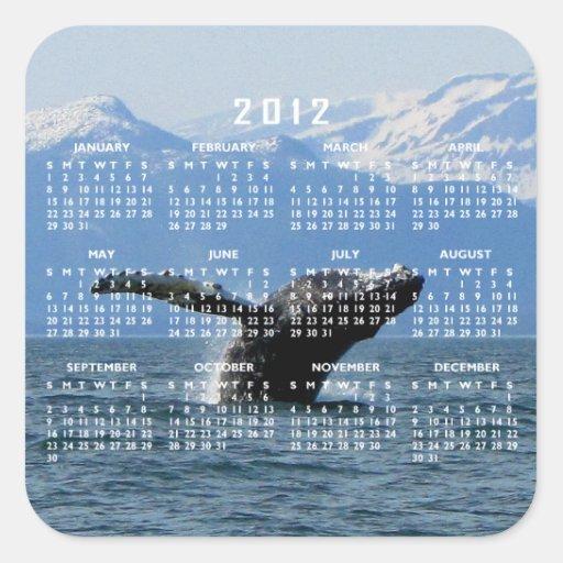 Hora del recreo de la ballena; Calendario 2012 Pegatinas
