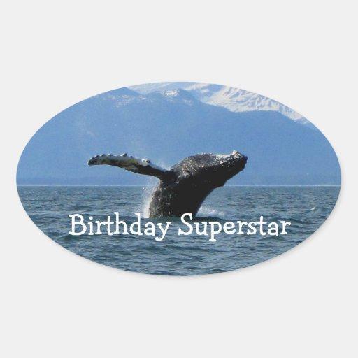Hora del recreo de la ballena; Feliz cumpleaños Calcomanías De Ovales