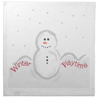 Hora del recreo del invierno servilletas imprimidas