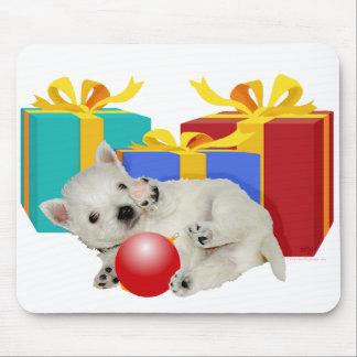 Hora del recreo del navidad del perrito de Westie Alfombrillas De Raton