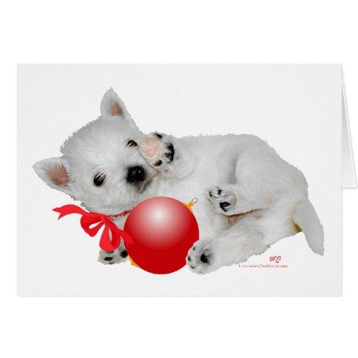 Hora del recreo del navidad del perrito de Westie Tarjeton