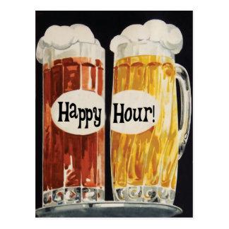 Hora feliz con las tazas de cerveza del vintage postales