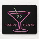 Hora feliz de neón retra Mousepad de Martini