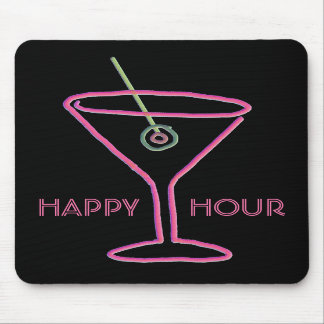 Hora feliz de neón retra Mousepad de Martini Tapetes De Ratones