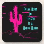 Hora feliz de Tucson del cactus rosado de neón del Posavasos