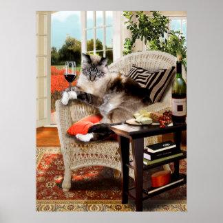 Hora feliz del mascota de los gatitos divertidos póster