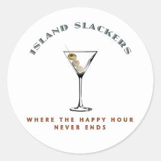 Hora feliz del Slacker de la isla Pegatina Redonda
