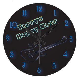 Hora feliz personalizada señal de neón de la reloj redondo grande