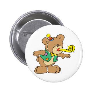 hora linda para un desig del oso de peluche de la  pin redondo de 2 pulgadas