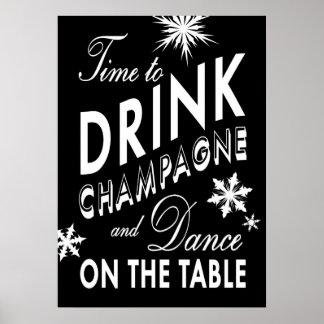 Hora negra de beber el poster del día de fiesta de