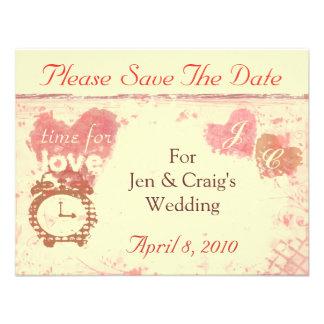 Hora para el ahorrador de la fecha del boda del am comunicados personalizados