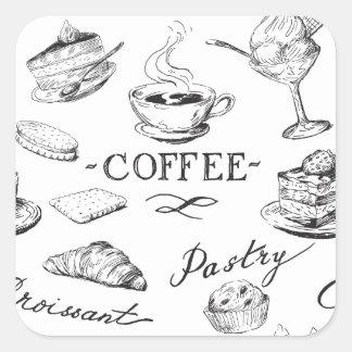 Hora para el café pegatina cuadrada