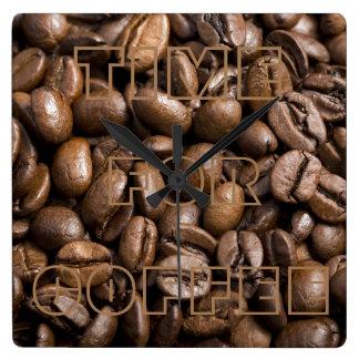 Hora para el café, reloj de pared de las habas