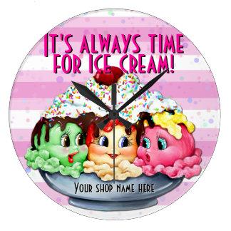 Hora para el helado .pink.dot.stripes pintado a ma relojes de pared