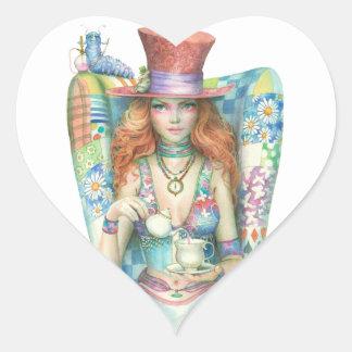 Hora para el té, el sombrerero enojado pegatina en forma de corazón