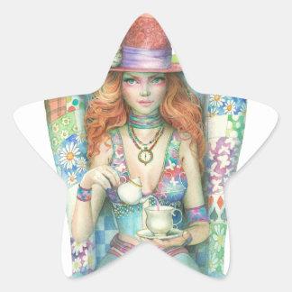 Hora para el té, el sombrerero enojado pegatina en forma de estrella