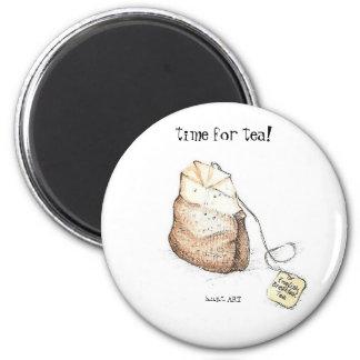 ¡hora para el té! imán redondo 5 cm