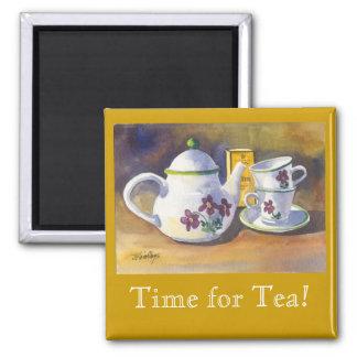 ¡Hora para el té! Imán Cuadrado