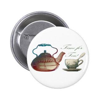 Hora para el té pin redondo 5 cm