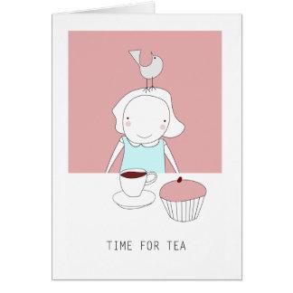 hora para el té tarjeta de felicitación
