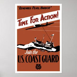 Hora para la acción -- Únase a al guardacostas de  Póster