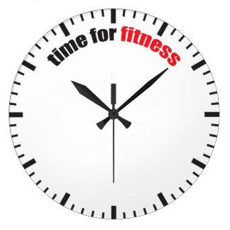 Hora para la aptitud - motivación del gimnasio reloj redondo grande