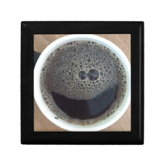 Hora para la cara del smiley del café cajas de recuerdo