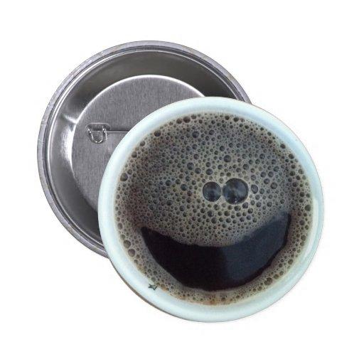Hora para la cara del smiley del café pins