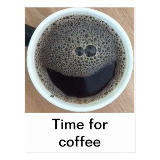 Hora para la cara del smiley del café postales