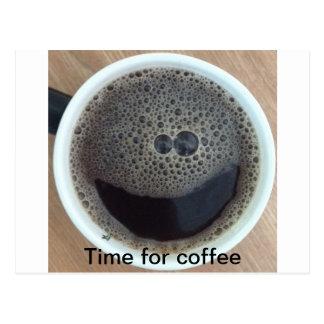 Hora para la cara del smiley del café tarjetas postales