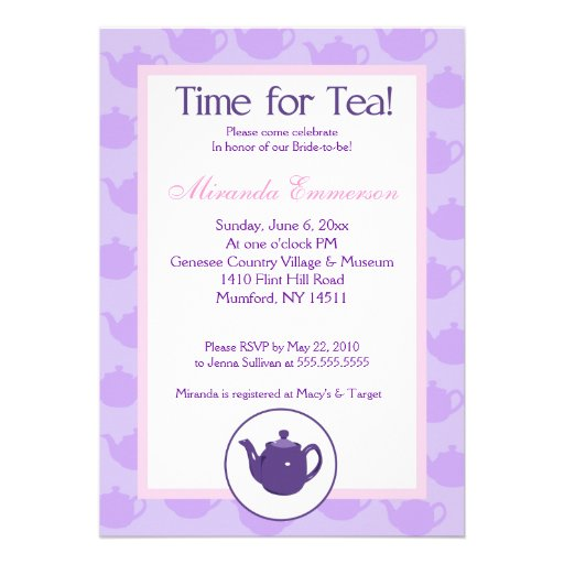 Hora para la ducha nupcial (púrpura) 5x7 de la tet invitacion personal