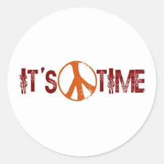 Hora para la paz etiqueta redonda