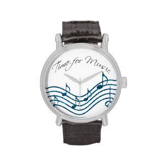 Hora para las notas musicales del remolino azul de relojes de pulsera