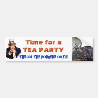 ¡Hora para otra fiesta del té América! Pegatina Para Auto