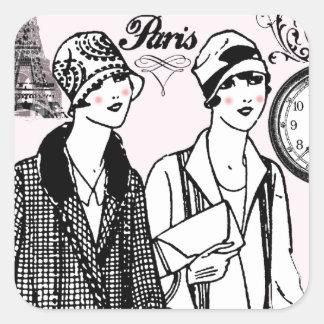 Hora para París Pegatina Cuadrada