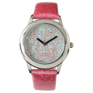 ¡Hora para París! Reloj rosado del brillo