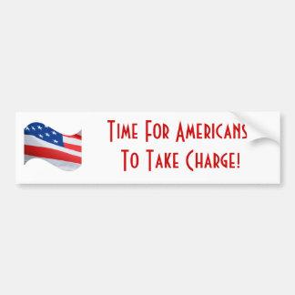 Hora para que americanos tomen la carga, bandera a pegatina para auto