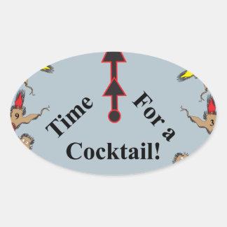 ¡Hora para un cóctel! Calcomanías De Óvales Personalizadas