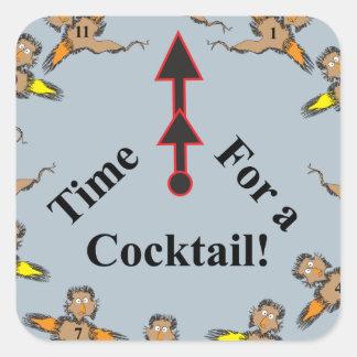 ¡Hora para un cóctel! Colcomanias Cuadradas